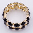 Gold Plated With Jet Black Stone Stretch Bracelet