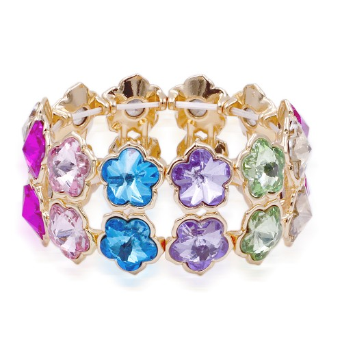 Gold Plated With Multi Crystal Stretch Bracelet
