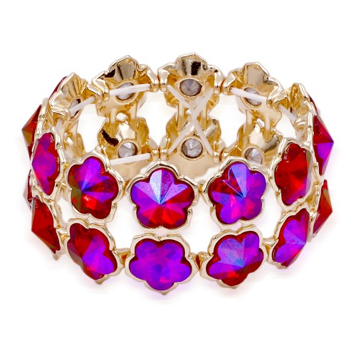 Gold Plated With Ruby Color Stone Stretch Bracelet