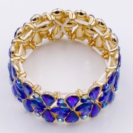 Gold Plated With Blue AB Crystal Stretch Bracelet