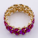 Gold Plated With Ruby Red Color Stone Stretch Bracelet