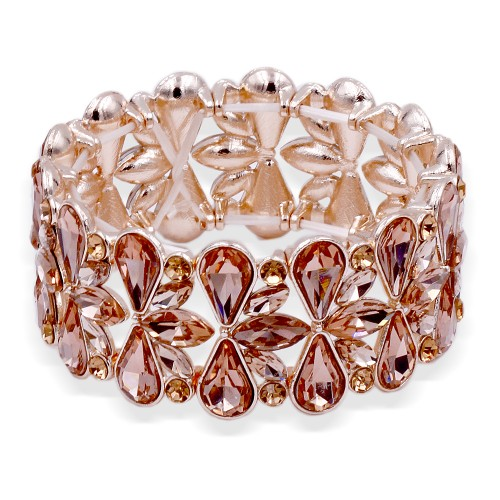 Rose Gold Plated With Peach Crystal Stretch Bracelet