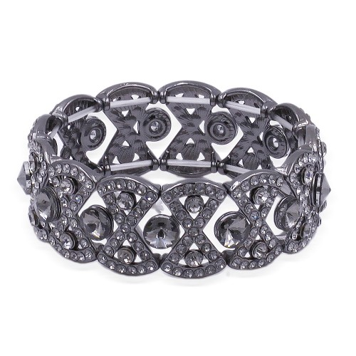 Gunmetal Plated With Black Diamond Stretch Bracelet