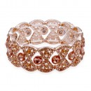 Rose Gold Plated With Peach Color Crystal Stretch Bracelet