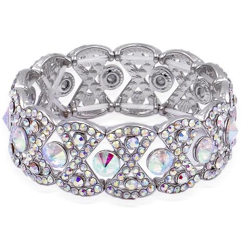 Rhodium Plated With AB Crystal Stretch Bracelet