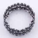 Gunmetal Plated With Black Diamond Crystal Stretch Bracelet
