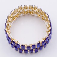 Gold Plated With Blue Crystal Stretch Bracelet