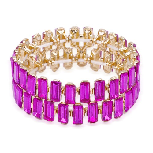 Gold Plated With Fuchsia Color Crystal Stretch Bracelet