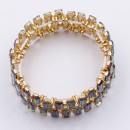 Gold Plated With Green AB Crystal Stretch Bracelet