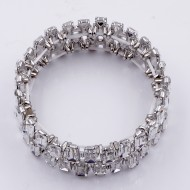 Rhodium Plated With Clear Crystal Stretch Bracelet