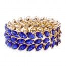 Gold Plated With Blue Color Crystal Stretch Bracelet