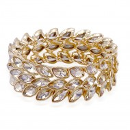Gold Plated With Topaz Crystal Stretch Bracelet