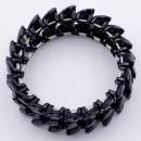 Jet Black Plated With Jet Black Crystal Stretch Bracelet