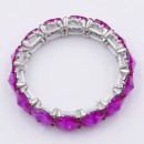 Rhodium Plated With Fuchsia Color Crystal Stretch Bracelet