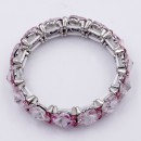 Rhodium Plated With Pink Crystal Stretch Bracelet