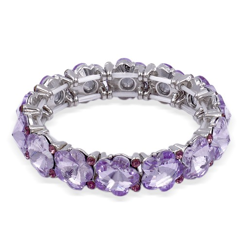 Rhodium Plated With Purple Color Stretch Bracelet