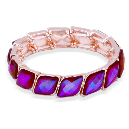 Rose Gold Plated With Ruby Color Stone Stretch Bracelet