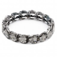 Gunmetal Plated With Black Diamond Stretch Bracelet