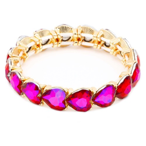 Gold Plated With AB Ruby Crystal Stretch Bracelet
