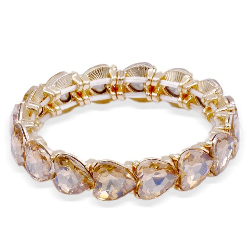 Gold Plated With Topaz Color Crystal Stretch Bracelet