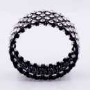 Jet Black Plated With Clear Crystal Stretch Bracelet