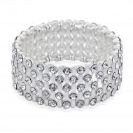 Matte Silver Plated With Clear Crystal Stretch Bracelet