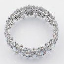 Rhodium Plated With AB Crystal Stretch Bracelet