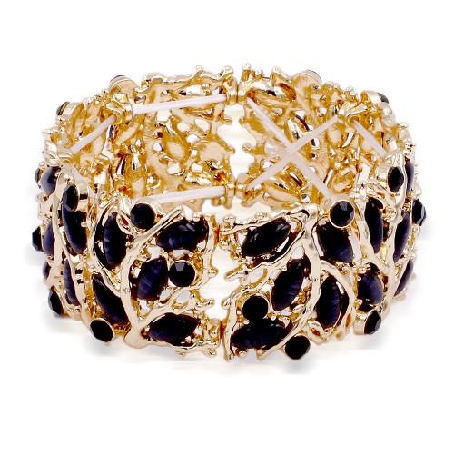 Gold Plated With Jet Black Crystal Stretch Bracelet