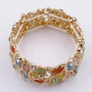 Gold Plated With Multi Color Crystal Stretch Bracelet