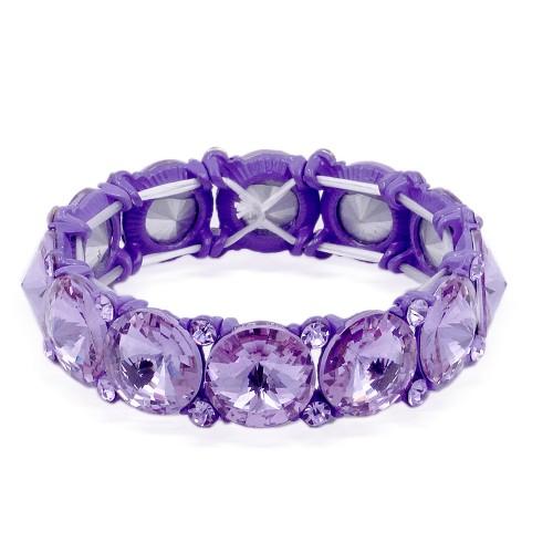 Purple Color Crystal Stretch Bracelet