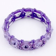 Purple Color Crystal Stretch Bracelet
