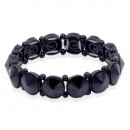 Jet Black Plated With Jet Black Crystal Stretch Bracelet