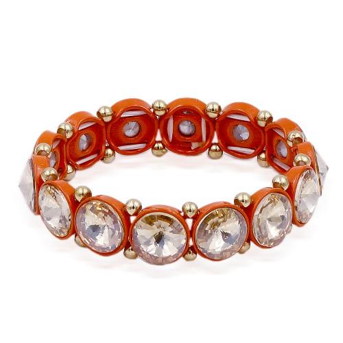 Orange Color Topaz Crystal Stretch Bracelet