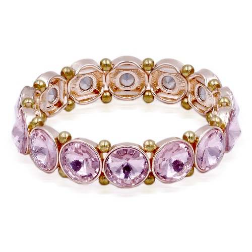 Rose Gold Plated With Pink Color Crystal Stretch Bracelet