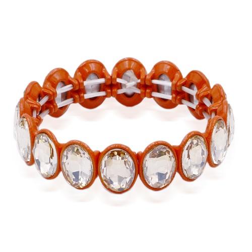 Orange Color with Topaz Crystal Stretch Bracelet