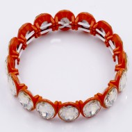 Orange Color with Topaz Crystal Stretch Bracelet