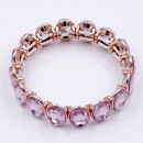 Rose Gold Plated With Pink Crystal Stretch Bracelet