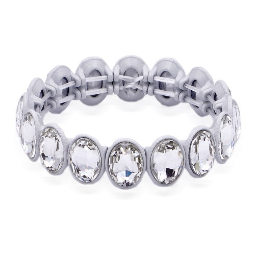White Color With Clear Crystal Stretch Bracelet