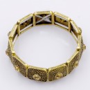Antique Gold Plated With Champagne Color Stretch Bracelet
