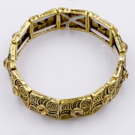 Antique Gold Plated With Champagne Crystal Stretch Bracelet