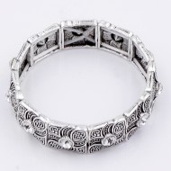 Antique Silver Plated With Clear Crystal Stretch Bracelet