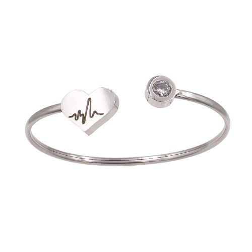Stainless Steel with Rhodium Plated Cuff Bracelets