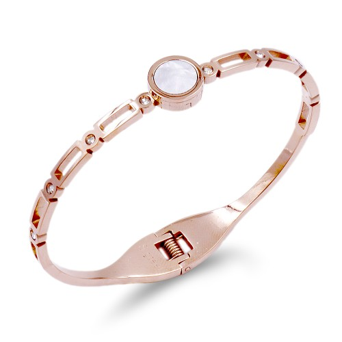Stainless Steel With Rose Gold Plated Cuff Bracelets