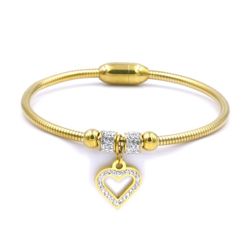 Stainless Steel Gold Plated CZ With Heart Cuff Bracelets