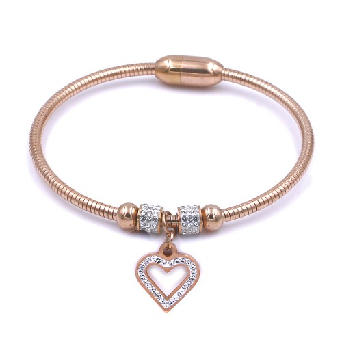 Stainless Steel Rose Gold Plated CZ w. Heart Cuff Bracelets