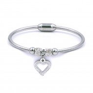 Stainless Steel With CZ Heart Cuff Bracelets