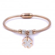 Stainless Steel Rose Gold Plated w. CZ Cuff Bracelets