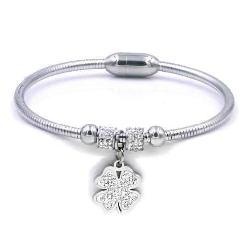 Stainless Steel Rhodium Plated w. CZ Cuff Bracelets