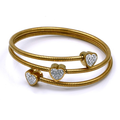 Stainless Steel With Gold Plated Heart Bracelets