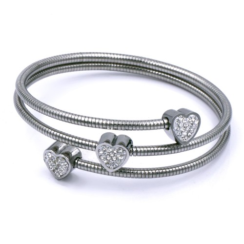 Stainless Steel wiht Rhodium Plated Heart Bracelets